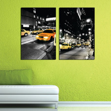 2 Pieces no frame free shipping Canvas Print City night lighting taxi Times Square Obama Billboard Marilyn Monroe audrey hepburn