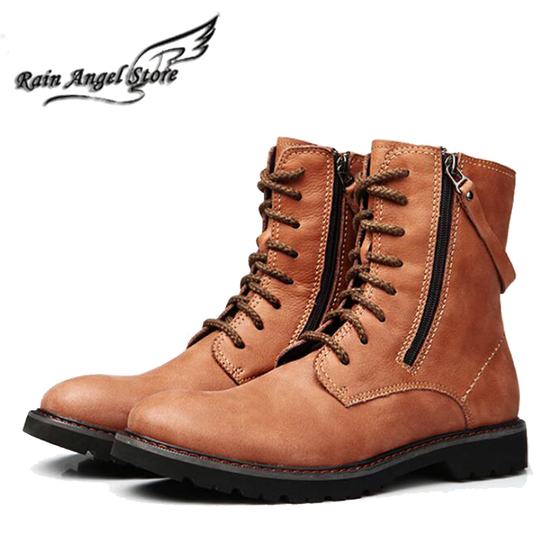 British Men Boots Autumn And Winter Fashion Cowhide Leather Boots Side Zipper Tooling Boots High Top Shoes Bota Masculino<br><br>Aliexpress