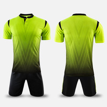 2017 new arrival polyester boys men football jerseys set blank soccer team training suits button quick dry short uniforms design(China)
