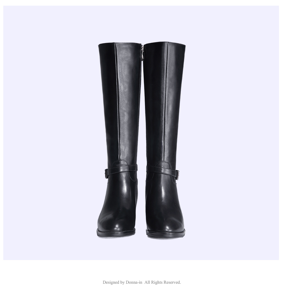 Donna-in Winter Boots Women Fashion Fur Warm Boots New Knee High Boots Real Leather Women Shoes Round Toe Heel Black Ladies 2018 (10)