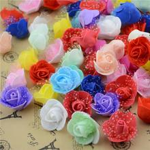100pcs 2.5cm Cheap Foam Lace Red Mini Artificial Rose Flower Head For Wedding Car Valentine's day Decoration DIY Wreath Flowers