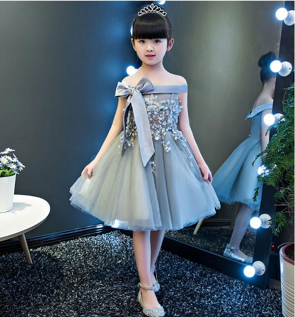 Elegant Girls Shoulderless Wedding Dress Big Bow Appliques Party Tulle Princess Birthday Dress First Communion Gown for Girls<br>