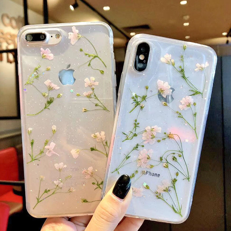 Clear Phone Cases For iPhone X Fashion Real Dried Flower Cases For iphone 6 6S 7 Plus Floral Back Cover For iPhone 8 Plus Fundas (1)