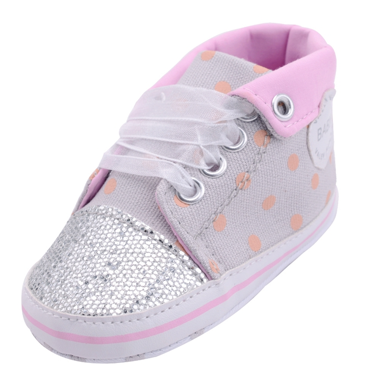 Infant Newborn Baby Girls Boy Glitter Polka Dots Autumn Lace-Up First Walkers Sneakers Shoes Adorable RibbonToddler Canvas Shoes 17