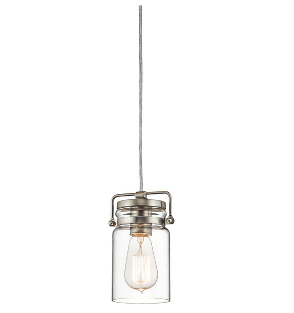 Mini-Pendant lights Brushed Nickel Finish with Clear Glass Shade home decoration lamp<br><br>Aliexpress