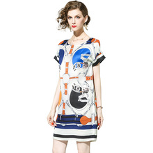 Casual Dresses Topshop Short Sleeve Patchwork Print 2017 Summer Loose High Quality New Style Above Knee Fashion Dress