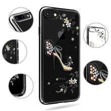 KAVARO for iPhone 7 7 Plus Case Luxury Crystal Plating PC Cell Phone Case for iphone 7 Plus Cover Coque Flower High-heeled Shoe(China)
