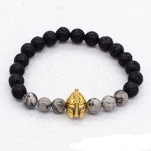 Men Bracelet Roman Warrior Helmet Lava with Grey Veined Picture Stone Charm Bracelet Bangle Men Yoga Reiki Prayer Bijoux(China)