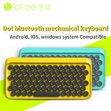 Lofree Dot USB Bluetooth mechanical keyboard copy old style Round button for ipad/Iphone/Macbook/PC computer/Android tablet