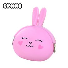 2017 New Fashion Coin Purse Lovely Kawaii Cartoon Rabbit Pouch Women Girls Small Wallet Soft Silicone Coin Bag Kid Gift(China)