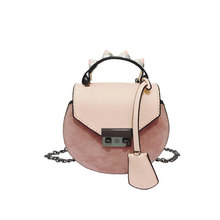SKLEAF rivets chain lady shoulder bag scrub leather min women handbag bag lock catch messenger bags cross body
