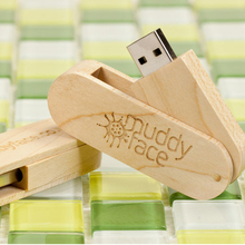 10PCS/LOT Swivel Maple 4GB 8GB 16GB USB 2.0 flash drive Wood Pendrive with Customized logo engrave for promotional Gifts