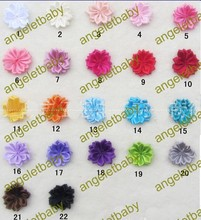free shipping 100 pcs 4cm silk ribbon polygonal flower flat back hairwear,handband girl hair accessories,22 colors