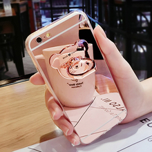 Luxury Soft Silicone Mirror With 360 Metal Bear Ring Case Cover For iPhone 7 Plus 6 6S Plus For iPhone 5 5S SE 4 4s Case Cover