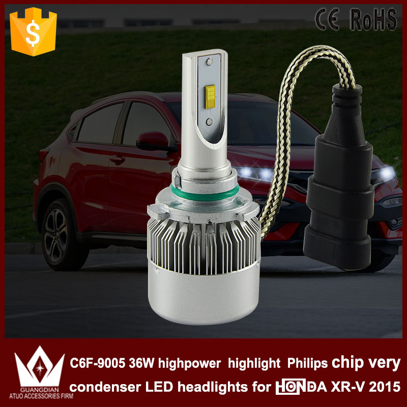 Guang Dian car led light 9005 Headlight Head lamp with mute fan high beam 9005 HB3 bright C6F 6000K white for XRV XR-V 2015<br><br>Aliexpress