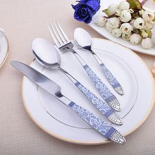 4PCS Set China Blue and White Tableware Ceramic Flower Quality Silver Cutlery Knife Fork Food Stainless Steel Dinner