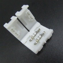 100pcs/lot 5050 led strip connector 10mm 2 Pin solderless mark polarity LED strip connector clip