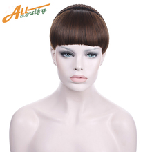 Buy Allaosify Short Braid Blunt Bangs Natural Tidy Hairpieces Heat Resistant Synthetic Brown Blunt Bangs Women for $4.89 in AliExpress store