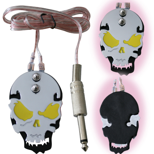 Yellow  Skull Tattoo Power Supply Foot Switch Pedal Stainless Steel Free Shipping