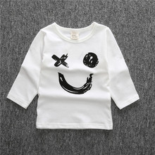 New Childrens Long Sleeve Turtleneck T-shirts Baby Boys Girls Cotton Letter printing t-shirt Spring Autumn Clothing White Black