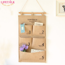New Brand Home Organiser Multilayer Storage Bags Retro Style Cotton Fabric Jute Hanging Organizer Vintage Wall Pocket(China)