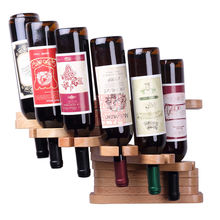 Creative folding Red oak wood wine bottle storage wall wine rack hanging glass holder bar tools