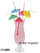 Multicolored Tropical Umbrella Straws/Disposable Bendable Drinking Straws for Party Kitchen Supplies Bars Restaurants (100 set)
