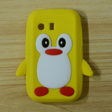 Popular 3D Cute Penguin Soft Rubber Silicon Case Cover Skin For Samsung Galaxy Y S5360 phone bag