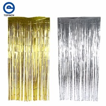 3M/2M Metallic Foil Curtain Wedding Decoration Backdrop Curtain Mariage Foil Garland Shiny Backdrop Birthday Party Decoration(China)