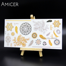 New Metallic Water Transfer Gold Silver men Body spray Art Temporary Tattoo Flash Sticker For Women