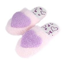 3 color Creative Design Women Floor Slippers Lady Home Use Indoor Girls Cotton Padded Heart Decoration Female Warm Shoes Outsole(China)