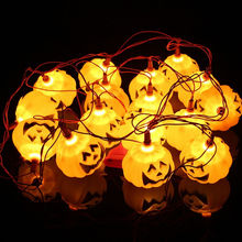 New 16PCS Halloween Pumpkin Lantern Vintage Bar String Light Party Halloween Decorations + Tail Plug