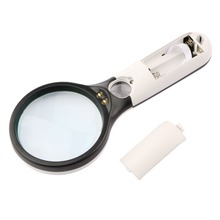 New Handheld Illuminated 3X 45X Magnifier Magnifying Jewelry Loupe 3 LED Light Hot Search Stock Offer