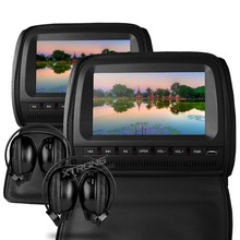 "XTRONS LCD Pillow Monitors Black Color 2 x 9""HD Digital Screen In Car Headrest DVD Players with Zipper Cover +2 IR Headphones"