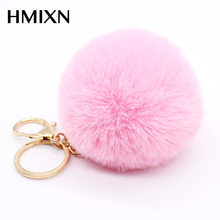 Big faux leather 8CM Fur PomPom KeyChain Rabbit Hair Bulb Bag pom pom Ball key chain Pendant poret clef for women Lovely Fluffy(China)