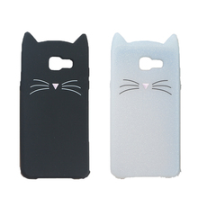 3D Cute Japan Glitter Bearded Cat Case For Samsung Galaxy A5 2016 A510 A5(6) Duos A510M/DS Cover Silicone Mobile Phone Bags