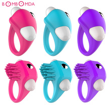 Buy New Silicone Vibrating Penis Ring Male Cock Ring Lock Sperm Ring Vibrator Time Delay lasting Ring Vibrator Sexy Toys Men O2