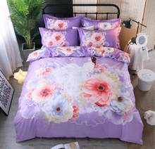 Flower Print Bedding Set Cotton 4pcs Princess Quilt Cover King Queen Size Home decoration Bedclothes Bed Sheet Set Pillowcases(China)