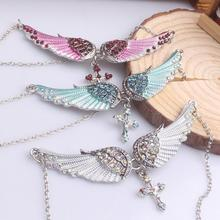 Angel wing cross necklace women biker jewelry gifts crystal adjustable antique silver color necklace wholesale dropshipping