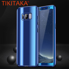 Luxury Laser Plating Mirror 360 Case For Samsung Galaxy S8 Plus S7 edge Cover For iphone X 2 in 1Shockproof Armor + Screen Film(China)