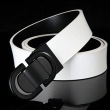 IFENDEI Genuine Leather Belt For Men Casual Smooth Buckle Belts Male Cow Skin Waist Gold Silver Plate Buckle Belt Black Strap