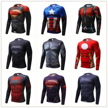 BDLJ 2017 Hot Fitness MMA Compression Shirt Men Anime Bodybuilding Long Sleeve Crossfit 3D Superman Punisher T Shirt Tops Tees