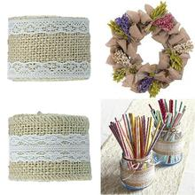 Buy 2m/ Lot 5cm Linen Lace Rustic Wedding Decor Christmas Gift Linen Wrapping DIY Sewing Lace Natural Burlap Ribbon LRW5446 for $1.49 in AliExpress store
