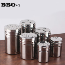 Hot 304 Stainless Steel Salt Pepper Shaker Set Kitchen Harb and Spice Tool Condiment Box Cooking Seasoning Bottle Barbecue Tool(China)