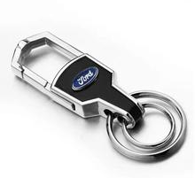 Silver Leather Car Logo Key Ring Keyring For Ford Focus 2 3 Keychain Key Chain Auto Pendant Key Holder Best Gift