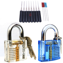 2017 New Transparent Visible Pick Cutaway Practice Padlock Lock With Broken Key Removing Hooks Lock Extractor Set Locksmith Tool