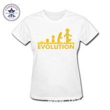 2017 Fashion New Gift Tee Robot EVOLUTION Cotton funny t shirt women(China)