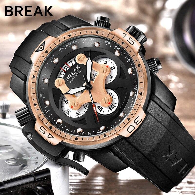 BREAK Sport Chronograph Fashion Watches Men Rubber Band Waterproof Luxury Brand Quartz Watch Gold Dropshipping Relogio Masculino<br>