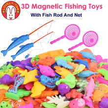 Lovely Too Magnetic Fishing Toys Games Plastic 3D Fish With Rod Net Tricks Parent Kids Fun toy Outdoor Educational Gifts(China)