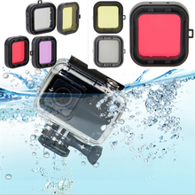 Sea Water Diving Housing Filter for Xiaomi Yi 4K Action Camera Underwater Waterproof Yellow Red Purple Grey Lens Yi Accessories